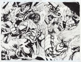 AGE OF APOCALYPSE ISSUE ORIGINAL ART-- by Sandoval-Art