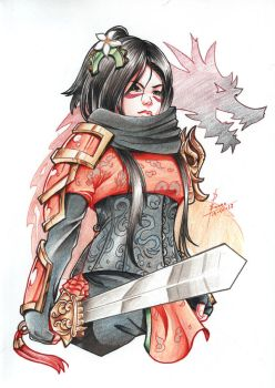 Traditional Commission - Mulan cosplay by AnimeColorfullArt