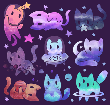 Space Cats by TheOceanOwl