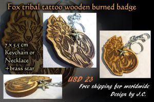 Fox tribal tattoo wooden burned badge by J-C