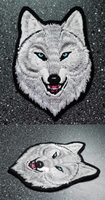 FOR SALE: White Alpha wolf head -embroidered patch by goiku
