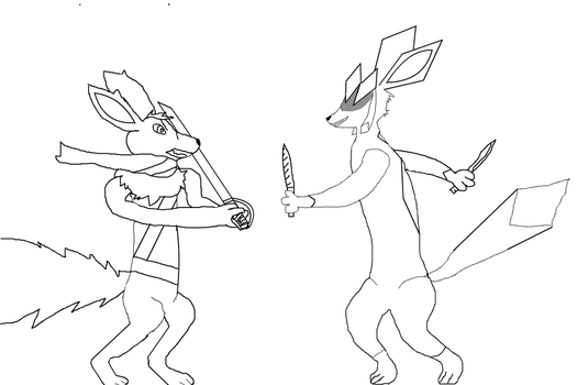 Fight (lineart) by T-H-E-GUY