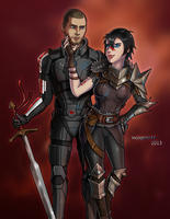 Bioware Crossover - Shepard and Hawke by Incognito44
