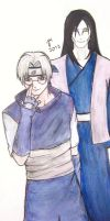 Orochimaru and Kabuto watercolour by piritajenna