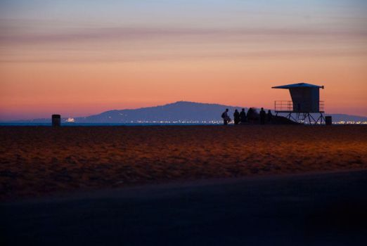 Huntington Beach at Sunset by Stephchantastic