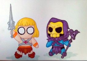 Ickle He-Man and Skeletor by MacNeacail