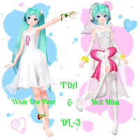 . : TDA White One Piece and Melt Miku dl : . by ChocoFudge98