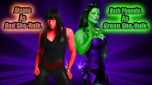 Aksana and Beth as Red and Green She-Hulk wp by SWFan1977