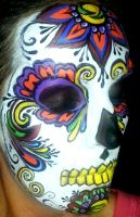 Face Painting Colorful Sugar Skull by facepaintingparadise
