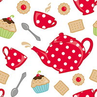 seamless pattern - tea time by bamo-crafts