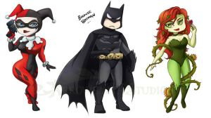DC Stickers- Batman Poison Ivy Harley Quinn by ladyarrowsmith