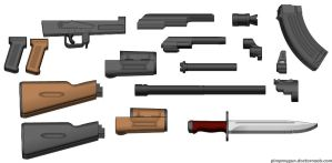 3D ak47 parts by guyver94
