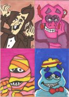 Count Chocula And the Gang sketch cards by kylemulsow