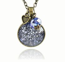 Cosmic Galaxy Purple Blue Glitter Bronze Necklace by crystaland