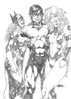 Batgirl-Nightwing-Starfire by JeanSinclairArts