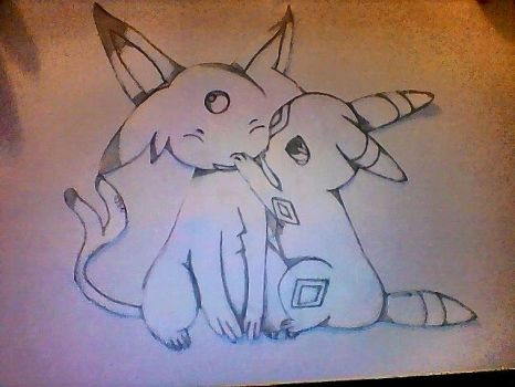 Umbreon and Espeon by Infected147