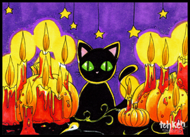 Black Cat and Candles ACEO by tea-bug