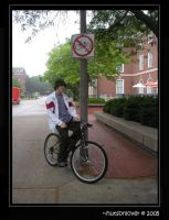 biking and the sign by hutsonlover