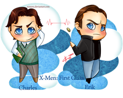 Chibi Erik and Charles by SurOvOsova