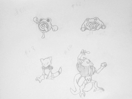 Poliwhirl Poliwrath Abra Kadabra by gir-is-me