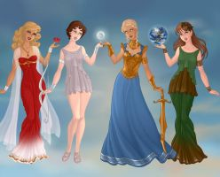 Aphrodite, Artemis, Athena, and Demeter by KellySchot