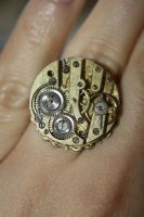 Steampunk Clockwork Ring 3 by freakstylerdesigns