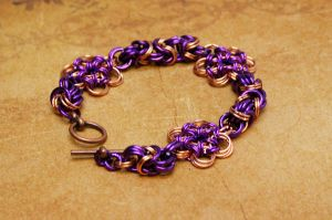 Flower Chainmaille bracelet by DarkRaven17