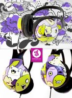 Purple Green Monster Headphone by Bobsmade