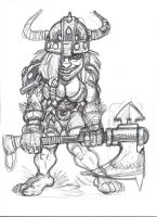 Little DWARF GIRL with big axe by zzpoil