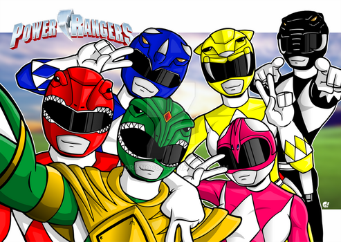 Might Morphin Power Rangers by adrianogon