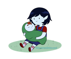 Meltdown AU - Little Marcy and baby Peter by Snowflake-owl
