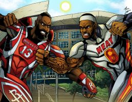 James Harden and Lebron James as Superheroes by phil-cho