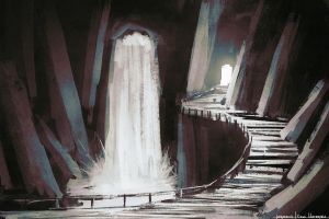 Underground waterfall by Imrooniel