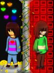 [UT] - Frisk and Chara - Mercy or Fight? by Pastel-Horrors