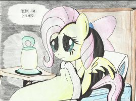 Fluttershy in Bed by Laffy372