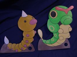 Life Size CAterpie and Weedle by Minatek616