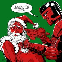 Judge Dredd Vs Santa by allistermac