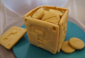 Cookie Mario block filled with Cookie Coins by WarpzonePrints