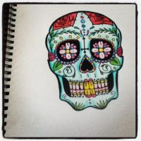 Tattoo Design - Mexican Day Of The Dead Mask by LookAliveHolly