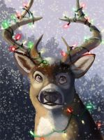 MFF Christmas Card Art-Deerlights by Ifus