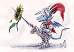 Sir Dracelot And A Sunflower by Sysirauta