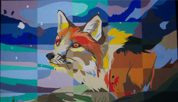 Fox Grid Painting by DL2288