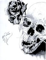 rose  skull by Bring-the-Pain40