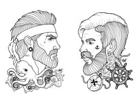 Beardy guys Tattoo sketch by MaryMaryLP
