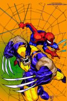 Wolvie and Spidey by Joe MAd. Inks by Sandoval by krowkid