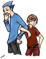 mordecai and rigby human style by YankaUshiro