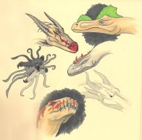 Sketchbook page: Monsters by AndrewCM