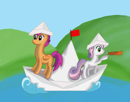 Scootaloo and Sweetie Belle by WolfyOmega