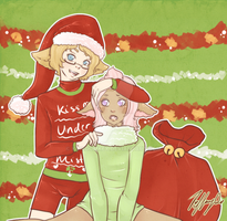 Merry Christmas - Kae and Gumdrop for Piehugs by Kingdomkey
