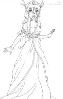 Kida deluxe gown lineart by LadyAmber